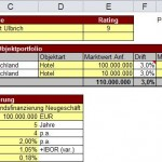 Example of an input section of a financial model